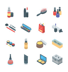 Beauty products and cosmetics icons vector