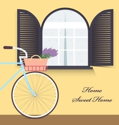 Bicycle with lavender in basket Sweet home vector