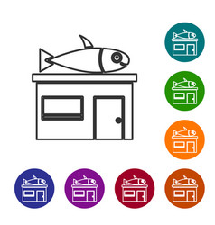 Black line seafood store icon isolated on white vector