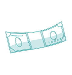 blue silhouette shading cartoon bill currency vector image