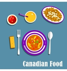 Canadian cuisine dinner dishes and drinks vector