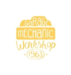Car Mechanic Yellow Vintage Stamp vector image