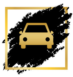 car sign golden icon at vector image