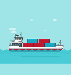 Cargo ship floating on ocean water vector