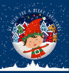 cartoon for holiday theme with elf on winter vector image