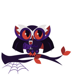 cartoon halloween dracula owl flat poster vector image