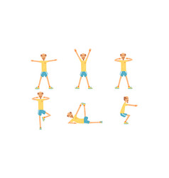 cheerful mature man doing morning exercises vector image