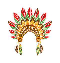Chief war bonnet with feathers native indian vector