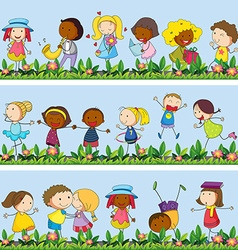 Children playing in the garden vector image vector image