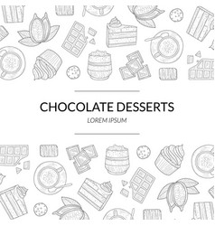 chocolate desserts banner template with hand drawn vector image