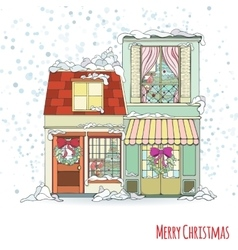 Christmas and New Year house vector image