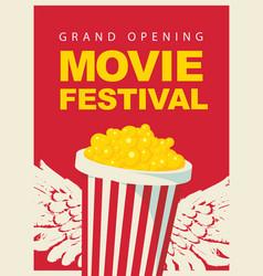 cinema movie festival poster with popcorn bucket vector image