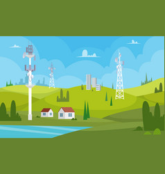 communication towers wireless antennas cellular vector image