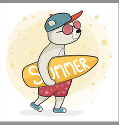 cool bear in sneaker hold surfboard summer time vector image