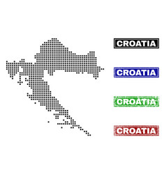 Croatia map in dot style with grunge caption vector
