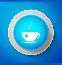 cup with tea bag icon isolated on blue background vector image