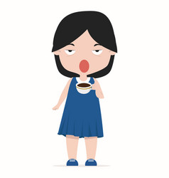 cute girl with cup coffee cartoon vector image