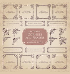 decorative corners and frames in vintage style vector image