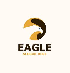 eagle negative space logo template vector image