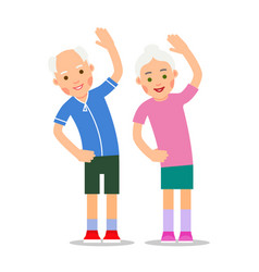 Elderly people exercising old couple and vector