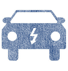 Electric car fabric textured icon vector