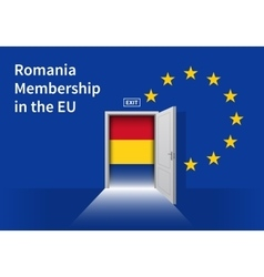 European Union flag wall with Romania flag door vector