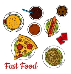 Fast food pizza with sandwiches and desserts icon vector image