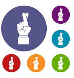 Fingers crossed icons set vector