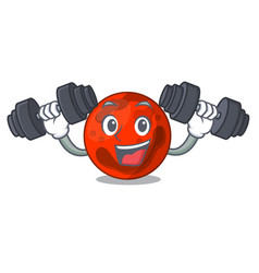 Fitness mars planet character cartoon vector
