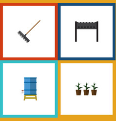 Flat icon farm set of container harrow barbecue vector