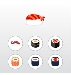 Flat icon sashimi set of eating oriental gourmet vector