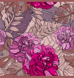 Floral seamless pink pattern with tropical plants vector