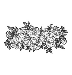 flowers tattoo sketch vector image