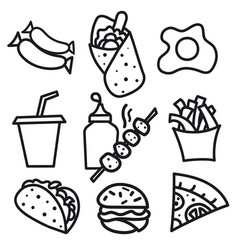 food icons and signs vector image