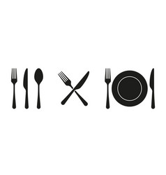 fork knife spoon and plate set icons tableware vector image
