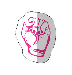 Fuchsia hand breast cancer defense icon vector