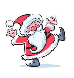 Funny cartoon santa claus dancing hand drawn vector