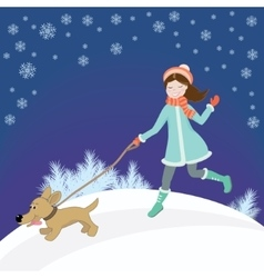 Girl and dog winter vector