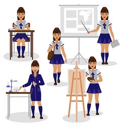 Girl at school vector