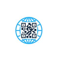 globe barcode logo icon design vector image