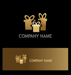 gold gift business logo vector image