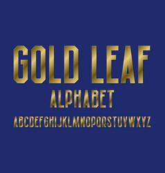 gold leaf alphabet high letters retro font vector image