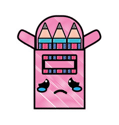 Grated crying and tender colored pencil kawaii vector