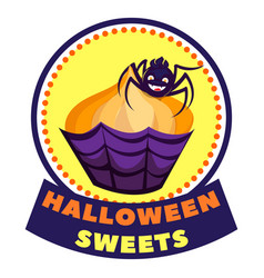 halloween sweet logo cartoon style vector image
