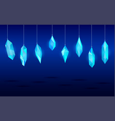 hanging crystals minerals design elements vector image