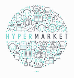 hypermarket concept in circle with thin line icons vector image