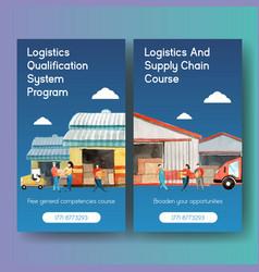 Logistics instagram design template vector