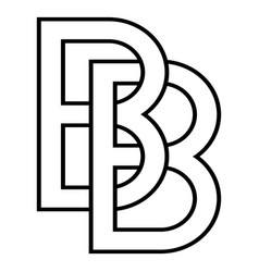 Logo sign bb and 2 b icon sign two interlaced vector