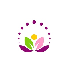 Lotus flower abstract leaf yoga logo vector