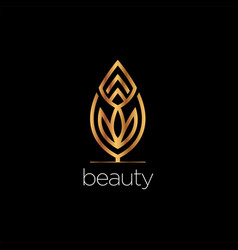 luxury beauty leaf elegant logo style sign symbol vector image